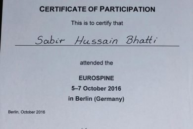 EUROSPINE – Certificate